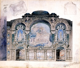 Beaux arts architectural sketch by Eugene Bourdon